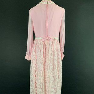 Vintage Dresses - 60s/70s Pink Lace Maxi Dress